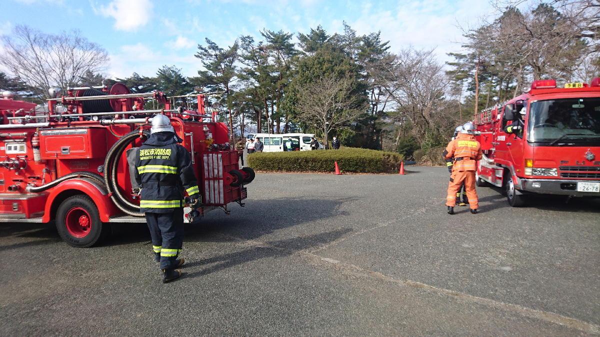 森林公園林野火災を想定した消防訓練